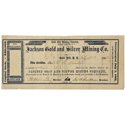 NV - Gold Hill,Storey County - July 25, 1863 - Jackson Gold and Silver Mining Co. Stock Certificate