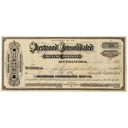 NV - Gold Hill,Storey County - Nov 30, 1880 - Sherwood Consolidated Mining Co. Stock Certificate - C