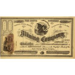 NV - Gold Hill,Storey County - April 25, 1868 - The South Overman Mining Company Stock Certificate -