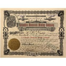 NV - Goldfield,1904 - Columbia Mountain Mining Company Stock Certificate - Fenske Collection