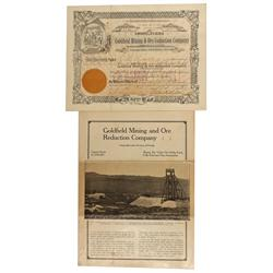 NV - Goldfield,Esmeralda County - 1910 - Goldfield Mining and Ore Reduction Company Stock Certificat
