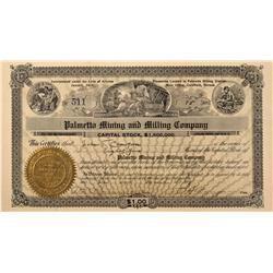 NV - Goldfield,Esmeralda County - 1907 - Palmetto Mining and Milling Stock Certificate