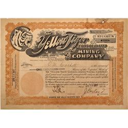 NV - Goldfield,Esmeralda County - 1917 - Yellow Tiger Consolidated Mining Company Stock - Fenske Col