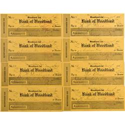 NV - Hamilton,White Pine County - 1887/8 - Bank of Woodland Checks - Gil Schmidtmann Collection