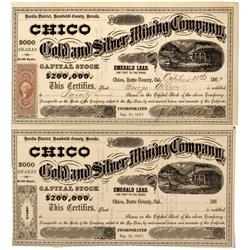 NV - Humboldt County,1867 - Chico Gold and Silver Mining Company Stock Certificate - Clint Maish Col