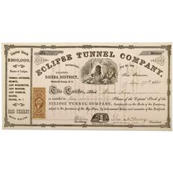 NV - Humboldt County,1864 - Eclipse Tunnel Company Stock Certificate - Clint Maish Collection