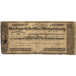 NV - Humboldt County,1864 - Governor Bigler Gold and Silver Mining Company Stock Certificate - Clint