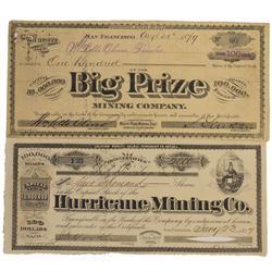 NV - Humboldt County,1877, 1879 - Humboldt County Area Mining Stocks
