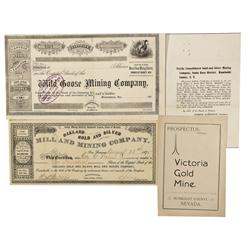 NV - Humboldt County,1864-1875 - Humbolt Stock Certificates and Prospectus - Clint Maish Collection