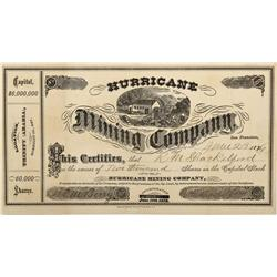 NV - Humboldt County,1876 - Hurricane Mining Copmany Stock Certificate - Clint Maish Collection