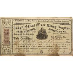 NV - Humboldt County,1863 - Ruby Gold and Silver Mining Company Stock Certificate - Clint Maish Coll