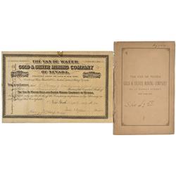 NV - Humboldt County,September 1, 1880 - Van de Water Gold & Silver Mining Company of Nevada, Stock