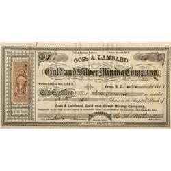 NV - Indian Springs,Lyon County - 1861 - Goss & Lambard Gold and Silver Mining Company Stock Certifi