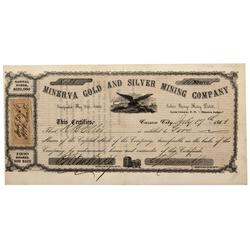 NV - Indian Springs,Lyon County - 1863 - Minerva Gold And Silver Mining Company Stock Certificate -