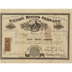 NV - Ione,Nye County - Union Mining Company Stock Certificate - Clint Maish Collection