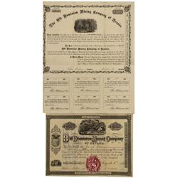 NV - Keystone,Nye County - 1867-1868 - Old Dominion Mining Company Bond and Stock Certificate - Clin
