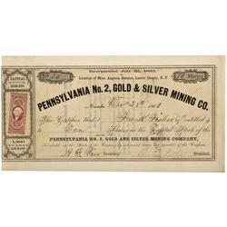 NV - Lander County,1863 - Pennsylvania No. 2, Gold & Silver Mining Company Stock Certificate - Clint