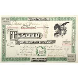 NV - Lida Valley,Esmeralda County - 1883 - Tesoro Silver Mining Co. Stock Certificate