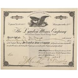 NV - Lincoln County,Jan. 27, 1908 - The Lyndon Mines Company Stock Certificate