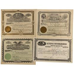 NV - Luning,Mineral County - 1907; 1919; 1921 - Luning, Nevada Mining Company Stock Certificates - C