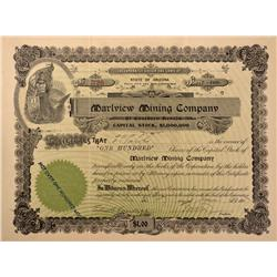 NV - Mineral County,1907 - Marlview Mining Company Stock Certificate - Gil Schmidtmann Collection