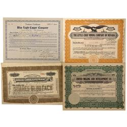NV - Mineral County,1908, 1917, 1918, 1920, 1929, 1930 - Mineral County Area Mining StockCertificate