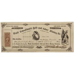 NV - Nelson,Clark County - 1864 - Waitt Consolidated Gold and Silver Mining Company Stock Certificat