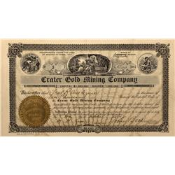 NV - Nye County,1904 - Crater Gold Mining Company Stock Certificate - Fenske Collection