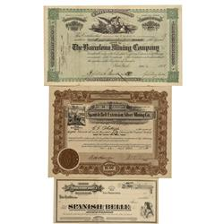 NV - Nye County,1888; 1919; n.d. - Spanish Belt District Stock Certificates - Clint Maish Collection