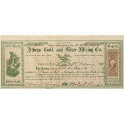NV - Ormsby County,1865 - Athens Gold and Silver Mining Company Stock Certificate - Clint Maish Coll