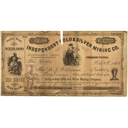NV - Palmyra,Lyon County - 1863 - Independent Gold & Silver Mining Company Stock Certificate - Clint