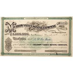 NV - Pioche,Lincoln County - 1878 - Meadow Valley Mining Company Stock