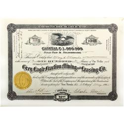 NV - Rawhide,Mineral County - Grey Eagle Fraction, Mining and Leasing Co. Stock Certificate