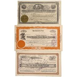 NV - Reno,Washoe - 1928, 1932,1933 - Veta Grande Gold Mining Company Stock Certificate