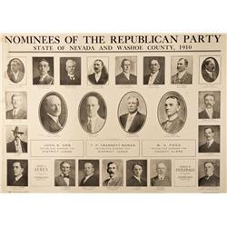 NV - Reno,Washoe County - 1910 - Washoe County Republican Nominees Broadside - Clint Maish Collectio