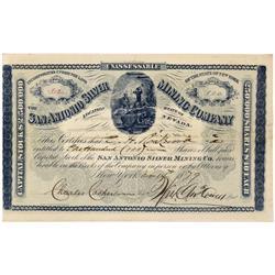 NV - San Antonio,Nye County - San Antonio Silver Mining Company Stock Certificate - Clint Maish Coll