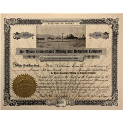 NV - Seco,Elko County - 1911 - Del Monte Consolidated Mining and Reduction Co. Stock Certificate