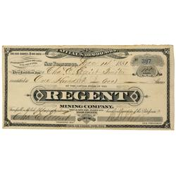 NV - Silver City,Lyon County - Dec 14, 1881 - Regent Mining Company Stock Certificate - Clint Maish