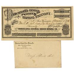 NV - Spanish Belt,Nye County - August 5, 1876 - Barcelona Central Silver Mining Company Stock Certif