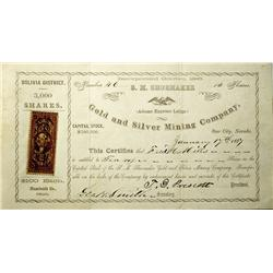 NV - Star City,Pershing County - Jan. 17, 1867 - S.M. Shoemaker Gold & Silver Mining Co. Stock Certi
