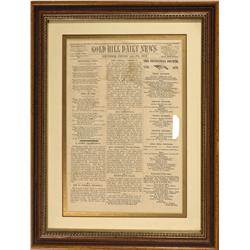 NV - Storey County,July 4, 1876 - Gold Hill Daily News Framed Newspaper