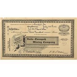NV - Tonopah,Nye County - 1903 - Butte-Tonopah Mining Company Stock Certificate - Clint Maish Collec