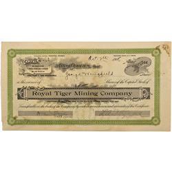 NV - Tonopah,Nye County - Oct 7, 1908 - Royal Tiger Mining Company Stock Certificate - Gil Schmidtma