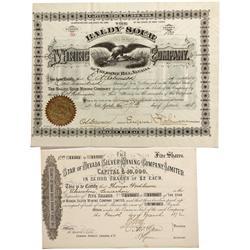 NV - Treasure Hill,1872, 1878 - Baldy Sour Mining Company and Star of Nevada Mining Company Stock Ce