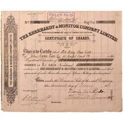 NV - Treasure Hill,1886 - Eberhardt & Monitor Co. Stock Certificate