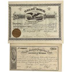 NV - Treasure Hill,White Pine County - 1869-1878 - Treasure Hill Stock Certificates - Clint Maish Co