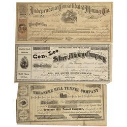 NV - Treasure Hill,White Pine County - 1869-1873 - Treasure Hill Stock Certificates - Clint Maish Co
