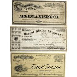 NV - Tuscarora,Elko County - 1878-1887 - Tuscarora Mining District Mining Stock Certificates