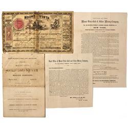 NV - Unionville,Humboldt - 1865 - Mount Vista *Territorial* Mine Documents