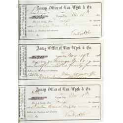 NV - Virginia City,Storey County - 1864 - Assay Receipts: Van Wyck & Co. *Territorial* - Gil Schmidt
